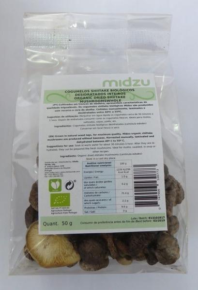 Cogumelos Shiitake desidratados biológicos inteiros Midzu 50 g